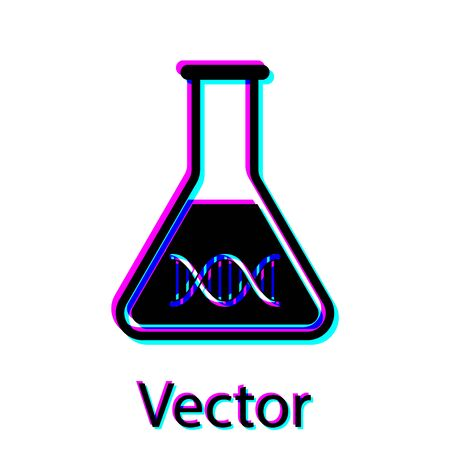 Black DNA research, search icon isolated on white background. Genetic engineering, genetics testing, cloning, paternity testing. Vector Illustration Ilustração