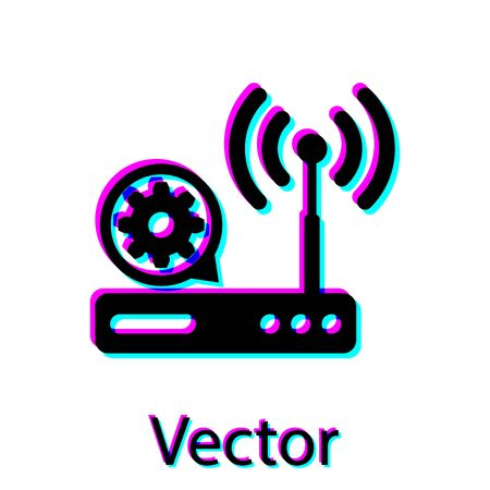 Black Router signal gear icon isolated on background. Adjusting app, service concept, setting options, maintenance, repair, fixing. Vector Illustration
