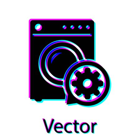 Black Washer and gear icon isolated on white background. Adjusting app, service concept, setting options, maintenance, repair, fixing. Vector Illustration
