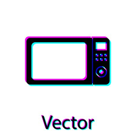 Black Microwave oven icon isolated on white background. Home appliances icon.Vector Illustration
