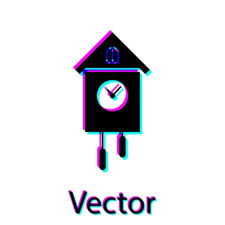 Black Retro wall watch icon isolated on white background. Cuckoo clock sign. Antique pendulum clock. Vector Illustration