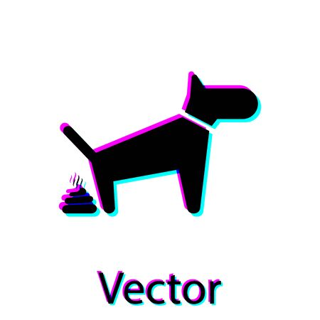 Black Dog pooping icon isolated on white background. Dog goes to the toilet. Dog defecates. The concept of place for walking pets. Vector Illustration Illustration