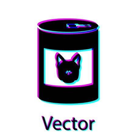 Black Canned food for dog icon isolated on white background. Food for animals. Pet dog food can. Vector Illustration