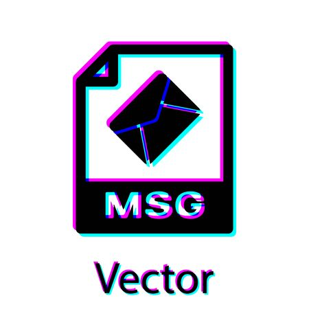 Black MSG file document icon. Download msg button icon isolated on white background. MSG file symbol. Vector Illustration