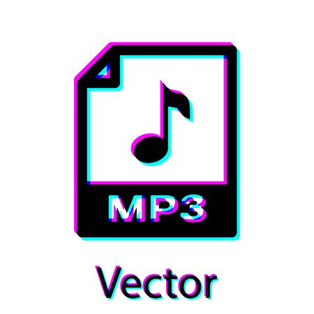 Black MP3 file document icon. Download mp3 button icon isolated on white background. Mp3 music format sign. MP3 file symbol. Vector Illustration