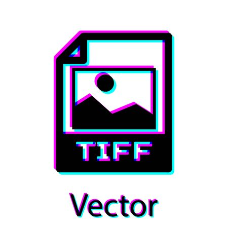 Black TIFF file document icon. Download tiff button icon isolated on white background. TIFF file symbol. Vector Illustration