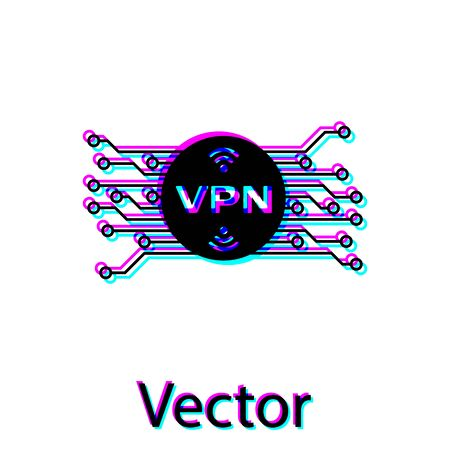 Black VPN in circle with microchip circuit icon isolated on white background. Vector Illustration Stock Illustratie
