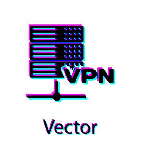 Black Server VPN icon isolated on white background. Vector Illustration