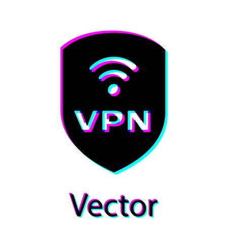 Black Shield with VPN and wifi wireless internet network symbol icon isolated on white background. VPN protect safety concept. Vector Illustration