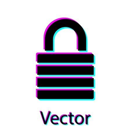 Black Lock icon isolated on white background. Padlock sign. Security, safety, protection, privacy concept. Vector Illustration