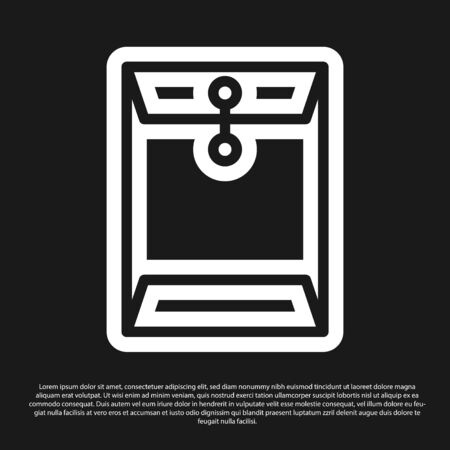 Black Envelope icon isolated on black background. Email message letter symbol. Vector Illustration