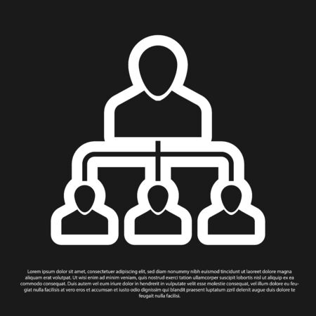 Icono de marketing de referencia negro aislado sobre fondo negro. Mercadeo en red, asociación comercial, estrategia de programa de referencia. Ilustración vectorial Ilustración de vector