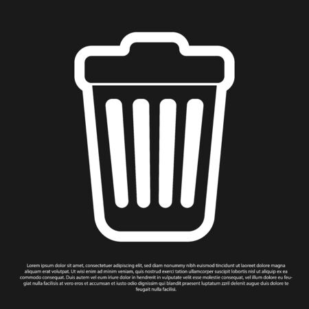Black Trash can icon isolated on black background. Garbage bin sign. Vector Illustration