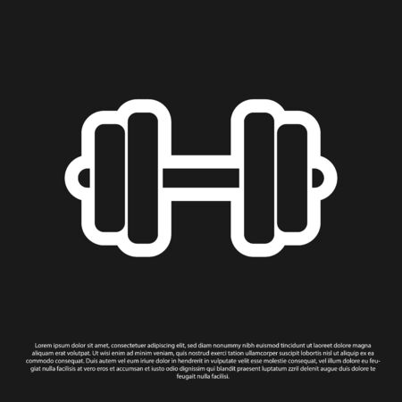 Black Dumbbell icon isolated on black background. Muscle lifting icon, fitness barbell, gym icon, sports equipment symbol, exercise bumbbell. Vector Illustration Ilustrace