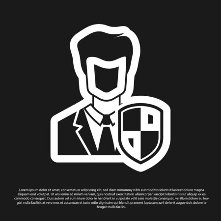 Black User protection icon isolated on black background. Secure user login, password protected, personal data protection, authentication icon. Vector Illustration