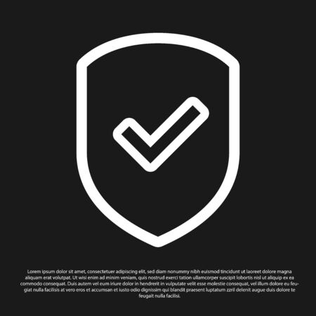 Black Shield with check mark icon isolated on black background. Protection symbol. Security check Icon. Tick mark approved icon. Vector Illustration