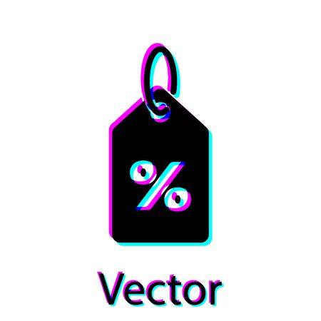 Black Discount percent tag icon isolated on white background. Shopping tag sign. Special offer sign. Discount coupons symbol. Vector Illustration
