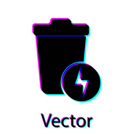 Black Lightning with trash can icon isolated on white background. Waste to energy. Garbage bin sign. Recycle basket sign. Vector Illustration