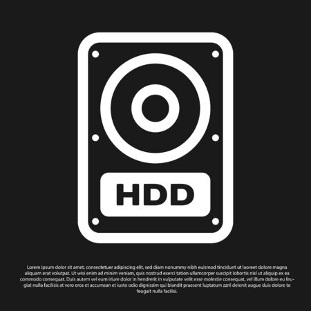 Black Hard disk drive HDD icon isolated on black background. Vector Illustration Standard-Bild - 126511675
