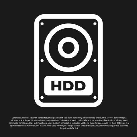 Black Hard disk drive HDD icon isolated on black background. Vector Illustration Illustration