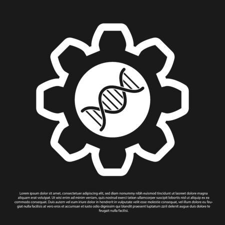 Black Genetic engineering icon isolated on black background. DNA analysis, genetics testing, cloning, paternity testing. Vector Illustration