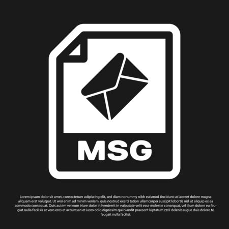 Black MSG file document icon. Download msg button icon isolated on black background. MSG file symbol. Vector Illustration Illustration