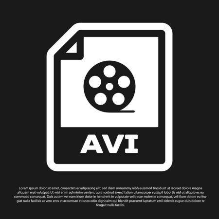 Black AVI file document icon. Download avi button icon isolated on black background. AVI file symbol. Vector Illustration Illustration