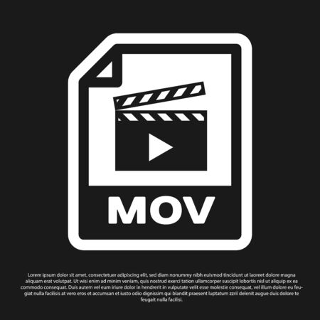 Black MOV file document icon. Download mov button icon isolated on black background. MOV file symbol. Audio and video collection. Vector Illustration