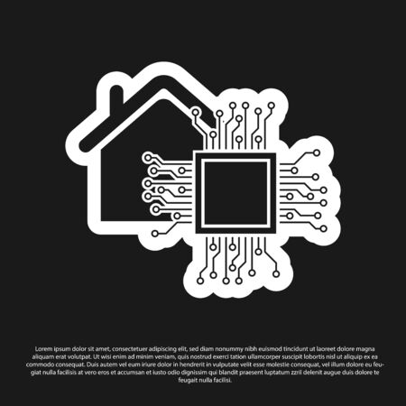 Black Smart home icon isolated on black background. Remote control. Vector Illustration Illustration