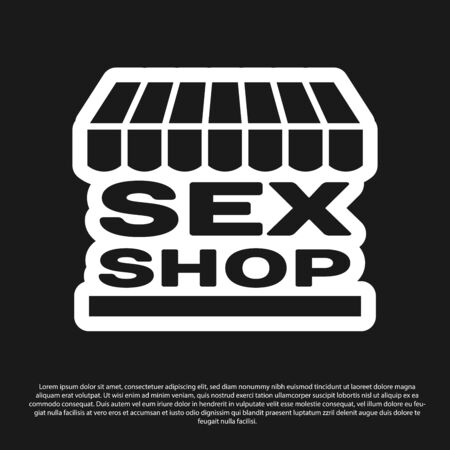 Black Sex shop building with striped awning icon isolated on black background. Sex shop, online sex store, adult erotic products concept. Vector Illustration