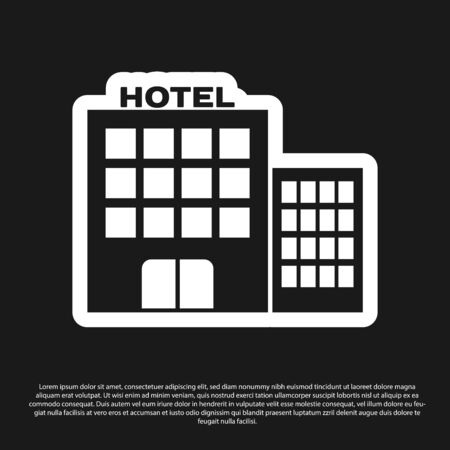 Black Hotel building icon isolated on black background. Vector Illustration