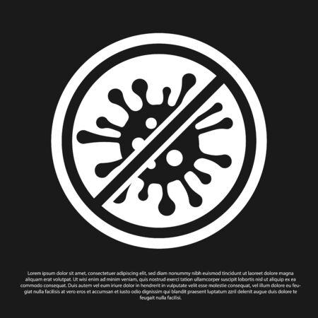 Black Stop Virus, Bakterien, Keime und Mikroben-Symbol auf schwarzem Hintergrund isoliert. Antibakterielle und antivirale Abwehr, Schutzinfektion. Vektorillustration