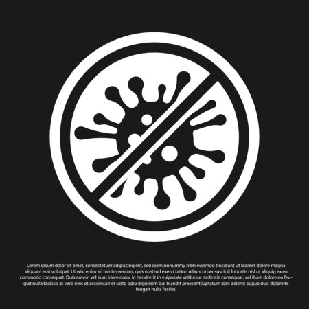 Black Stop virus, bacteria, germs and microbe icon isolated on black background. Antibacterial and antiviral defence, protection infection. Vector Illustration
