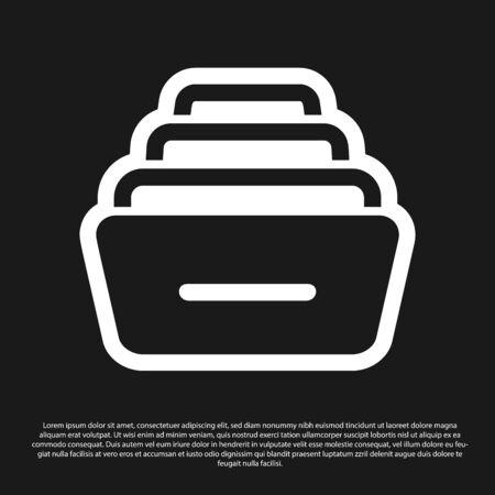 Tiroir noir avec icône de documents isolé sur fond noir. Tiroir à papiers d'archives. Tiroir de classeur. Mobilier de bureau. Illustration vectorielle