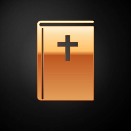 Gold Holy bible book icon isolated on black background. Vector Illustration