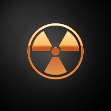 Gold Radioactive icon isolated on black background. Radioactive toxic symbol. Radiation Hazard sign. Vector Illustration