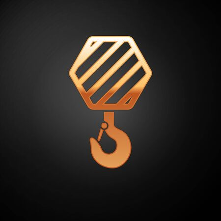 Gold Industrial hook icon isolated on black background. Crane hook icon. Vector Illustration