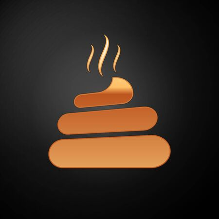 Gold Shit icon isolated on black background. Vector Illustration