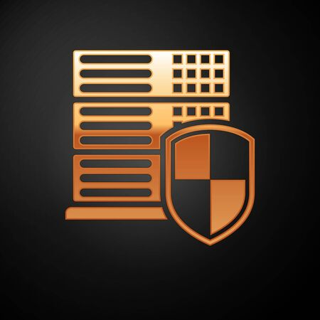 Gold Server with shield icon isolated on black background. Protection against attacks. Network firewall, router, switch or server, data, center. Vector Illustration