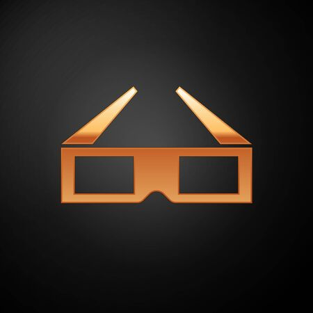 Gold 3D cinema glasses icon isolated on black background. Vector Illustration