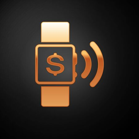 Gold Contactless payment icon isolated on black background. Smartwatch with nfc technology making wireless contactless transactions. Vector Illustration