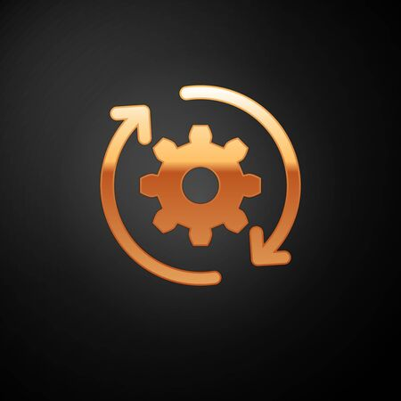 Gold Gear and arrows as workflow concept icon isolated on black background. Gear reload sign. Vector Illustration