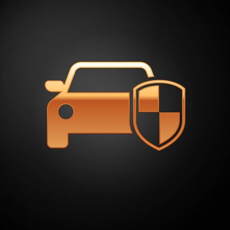 Gold Car protection or insurance icon isolated on black background. Protect car guard shield. Safety badge vehicle icon. Security auto label. Vector Illustration