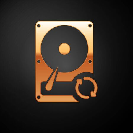 Gold Hard disk drive HDD sync refresh icon isolated on black background. Vector Illustration 向量圖像