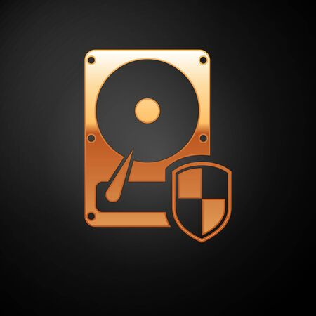 Gold Hard disk drive HDD protection icon isolated on black background. Vector Illustration