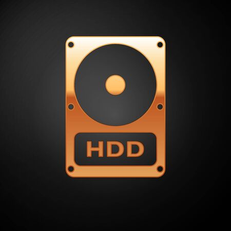 Gold Hard disk drive HDD icon isolated on black background. Vector Illustration Illustration
