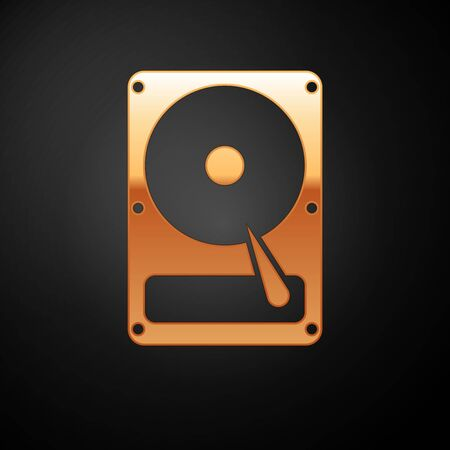 Gold Hard disk drive HDD icon isolated on black background. Vector Illustration Standard-Bild - 126506522