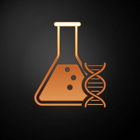 Gold DNA research, search icon isolated on black background. Genetic engineering, genetics testing, cloning, paternity testing. Vector Illustration Ilustração