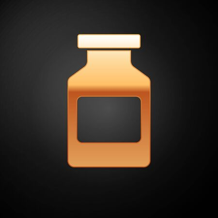 Gold Medicine bottle icon isolated on black background. Bottle pill sign. Pharmacy design. Vector Illustration  イラスト・ベクター素材