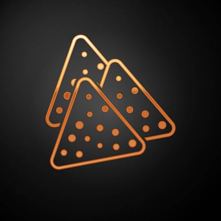 Gold Nachos icon isolated on black background. Tortilla chips or nachos tortillas. Traditional mexican fast food. Vector Illustration